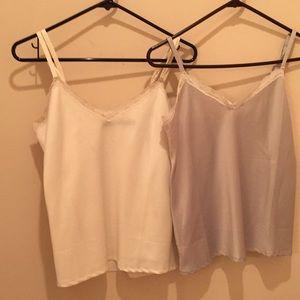 3 Ralph Lauren camisoles 2/ivory, 1 grey, small